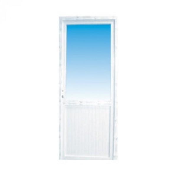 Porte de service pvc 1 2 vitr e gauche 205 x 80 cm for Porte de service pvc isolee
