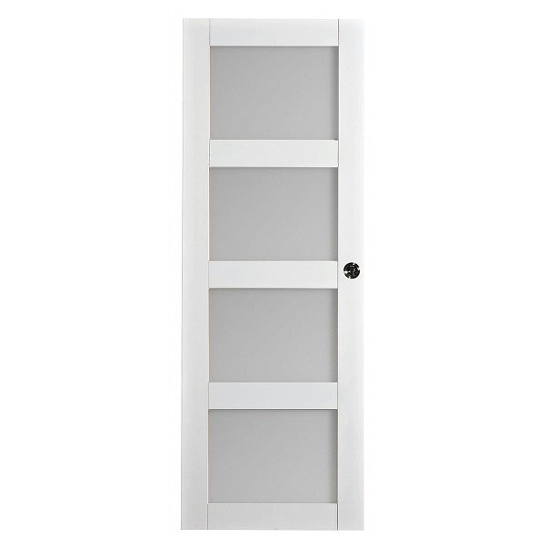 Porte int rieure quartzo 4 carreaux blanc 204x73 cm for Porte interieure 73