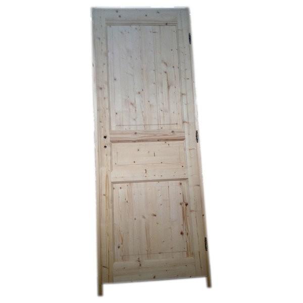 Bloc porte sapin 3 panneaux 204x73 cm droite for Porte 3 panneaux