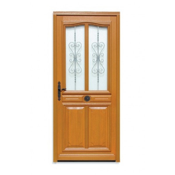 Porte d 39 entr e bois exotique flo 215x80 cm droit - Porte d entree bois exotique ...