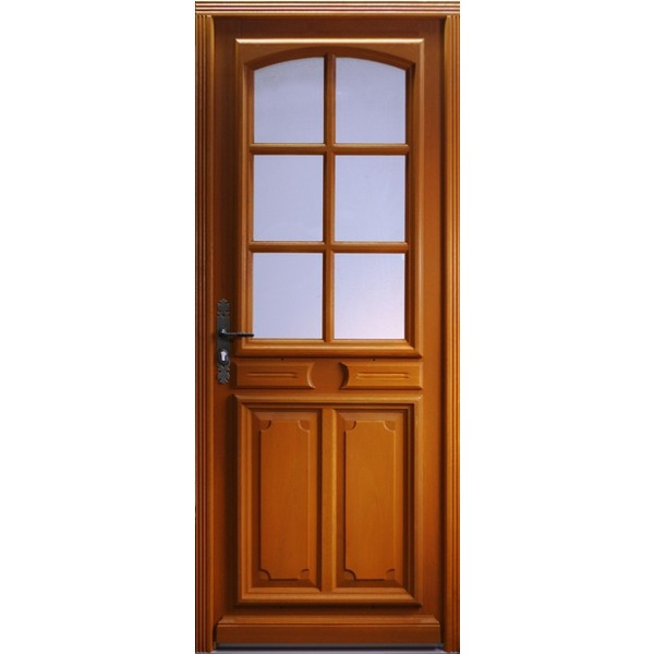 Porte d 39 entr e bois exotique isa 215x80 cm droit for Porte d entree 80 cm largeur