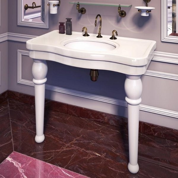 table de lavabo herbeau bel epoque 107 cm blanche. Black Bedroom Furniture Sets. Home Design Ideas