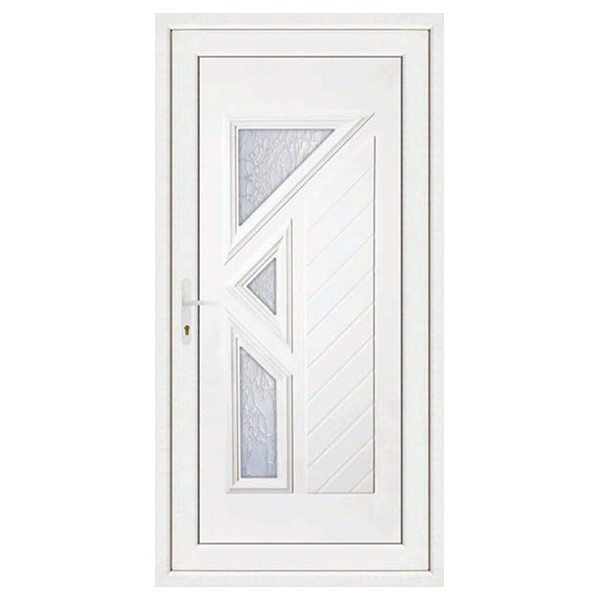 Porte d'entrée pvc LISA 3 carreaux poussant droit, 200 x 80 cm