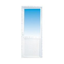 Porte de service pvc 1/2 vitre claire poussant gauche, 215 x 90 cm
