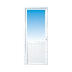 Porte de service pvc 1/2 vitre claire poussant droit, 215 x 90 cm