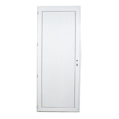 Porte de service en PVC panneau plein droite, 205 x 90 cm
