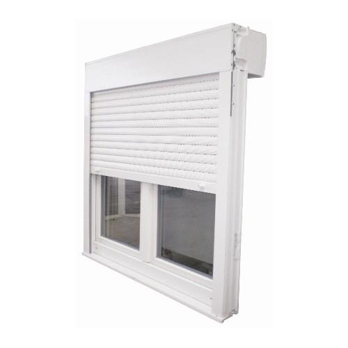 Fenêtre PVC 2 vantaux avec volet intégré, 125 x 140 cm