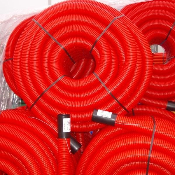 Gaine TPC rouge Ø 75 mm en couronne de 25 ML, la couronne