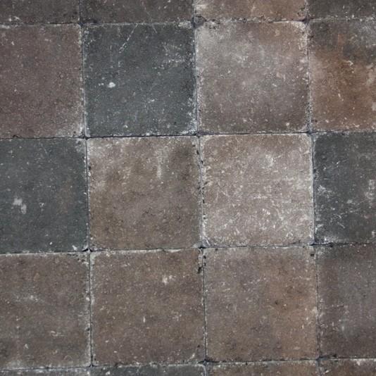 Pavés tambourisés 15 x 15 x 5 cm Tégula couleur Brun nuancé, la palette de 13,5 M2