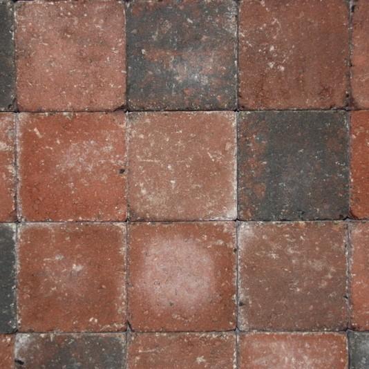 Pavés tambourisés 15 x 15 x 6 cm Cambelstone couleur Rouge nuancé, la palette de 10,125 M2