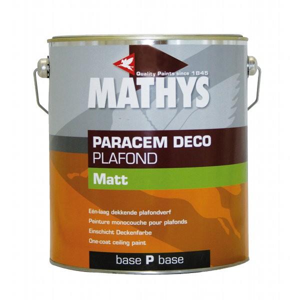 Peinture acrylique Paracem Deco Plafond Matt Mathys blanc, 10 litres