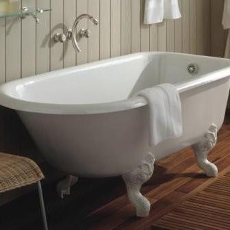 Baignoire sur pied Herbeau, modèle Rétro en fonte blanche, 137 x 78 cm