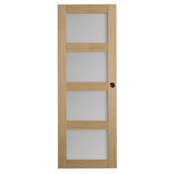 Porte intérieure Quartzo chêne 4 carreaux 204x73 cm, rive droite