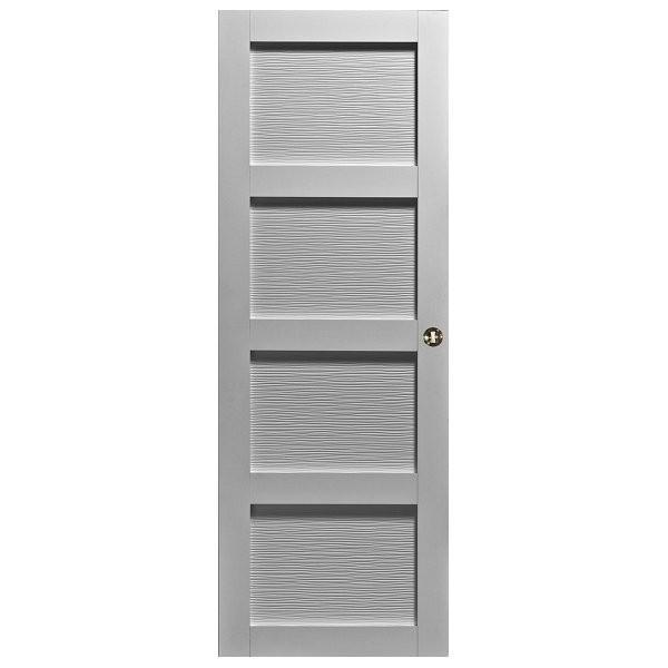 Porte intérieure Quartzo 4 panneaux zébrés blanc 204x83 cm rive droite