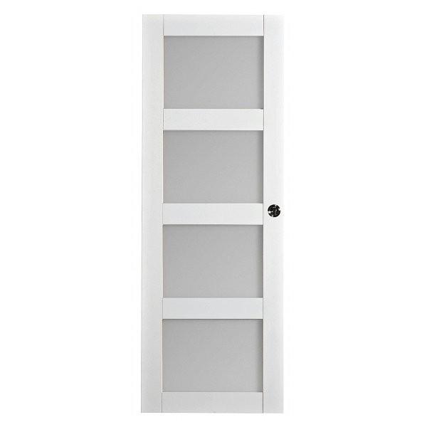 Porte intérieure Quartzo 4 carreaux blanc, 204x73 cm, rive droite