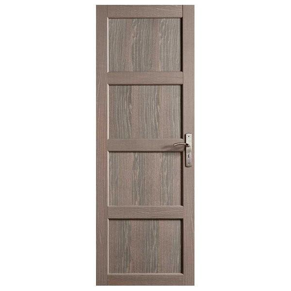 Porte intérieure Quartzo chêne grisé 4 panneaux 204x83 cm, rive droite
