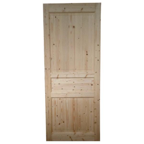 Porte intérieure en sapin 3 panneaux, 204x73 cm, traverse droite