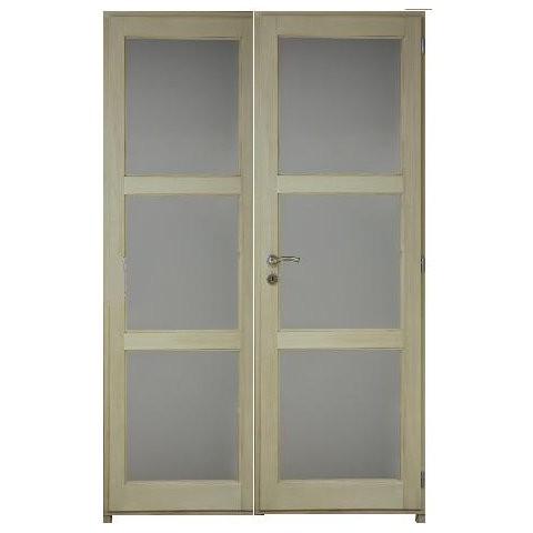 Bloc porte bois exotique clair 6 crx 204x146 cm droite traverse droite