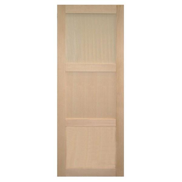 Porte intérieure bois exotique clair 3 panneaux 204x83 cm, rive droite