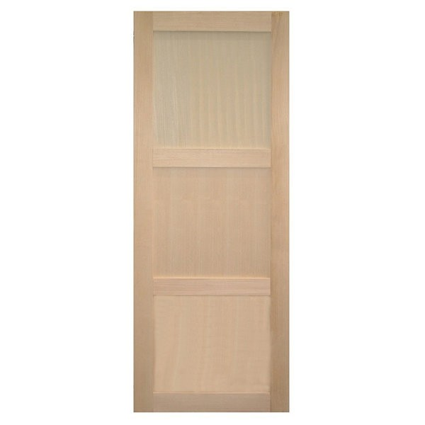 Porte intérieure bois exotique clair 3 panneaux 204x73 cm, rive droite