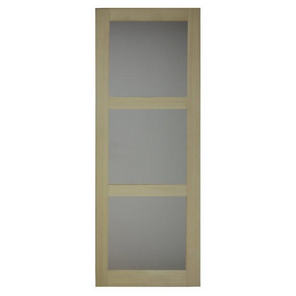 Porte intérieure bois exotique clair 3 carreaux 204x73 cm, rive droite