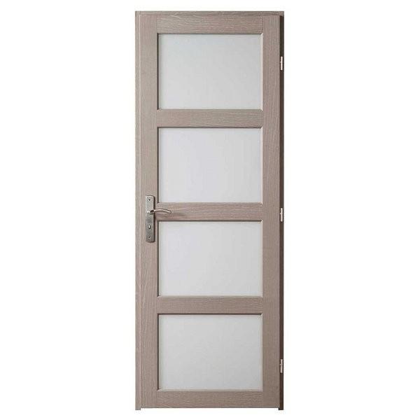 Bloc porte Quartzo chêne grisé 4 carreaux, 204x73 cm, poussant gauche