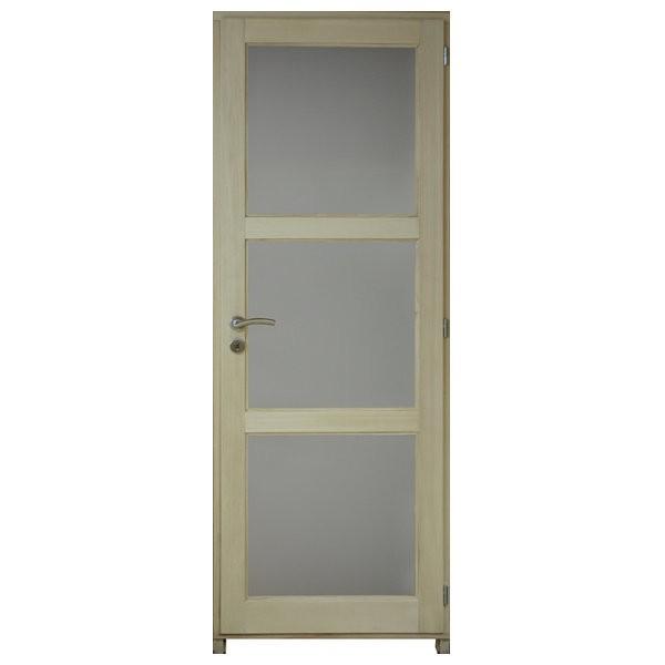 Bloc porte bois exotique clair 3 crx 204x83 cm, gauche traverse droite