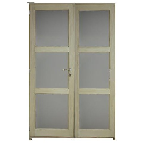Bloc porte bois exotique clair 6 crx 204x146 cm gauche traverse droite