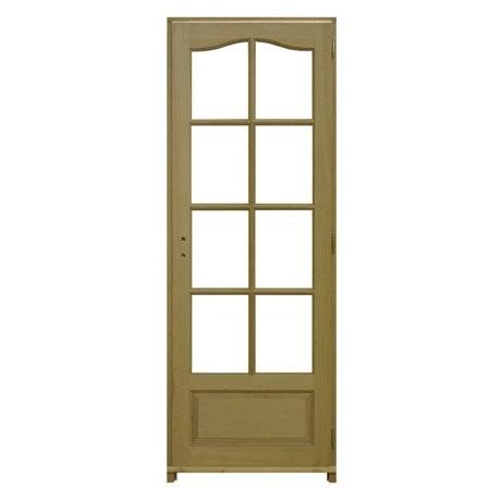 Bloc porte plaqué chêne 8 carreaux, 204x73 cm, poussant gauche