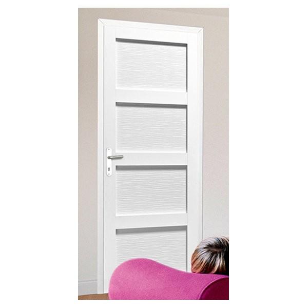 Bloc porte Quartzo 4 panneaux zébrés blanc, 204x73 cm, gauche