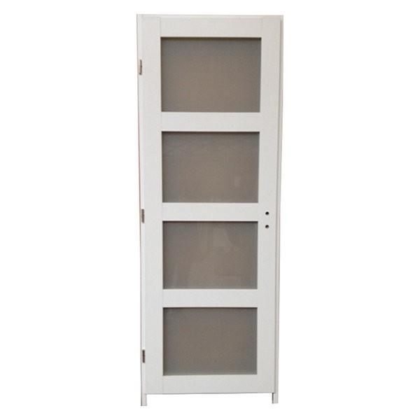 Bloc porte quartzo 4 crx blanc 204x73 cm droite for Porte 4 carreaux