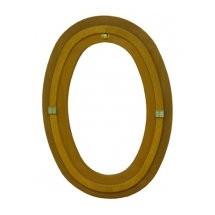 Oeil de boeuf vitré ovale en bois exotique, 90 x 60 cm