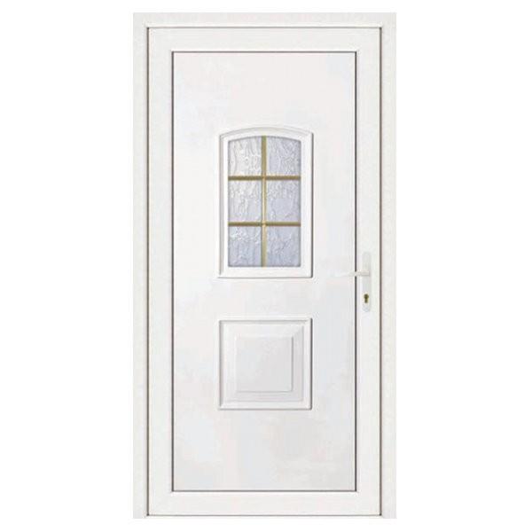 Porte d'entrée pvc Eva blanche 6 carreaux poussant gauche, 200 x 90 cm