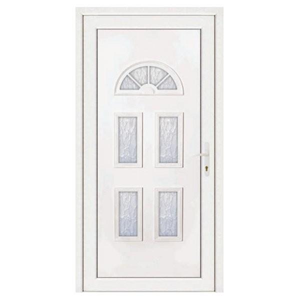 Porte d'entrée pvc INES blanc 5 carreaux poussant gauche, 200 x 90 cm