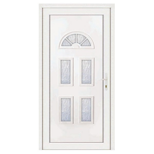 Porte d'entrée pvc INES blanc 5 carreaux poussant gauche, 215 x 90 cm