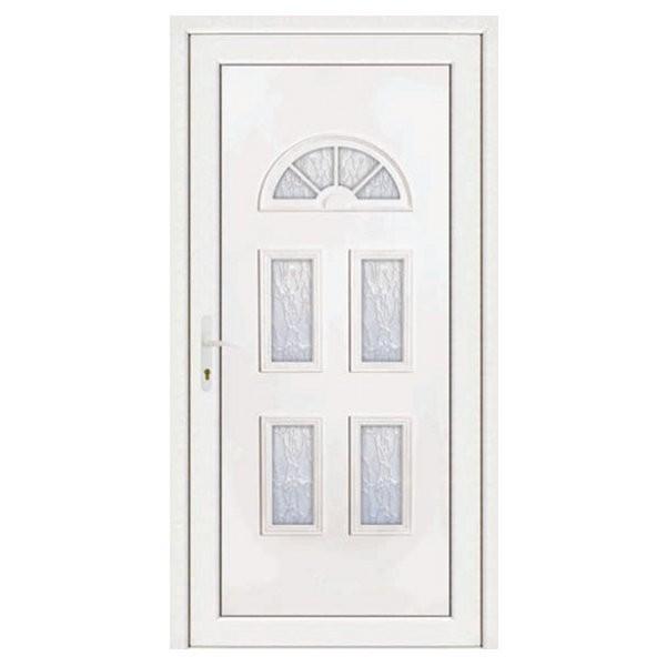 Porte d'entrée pvc INES blanche 5 carreaux poussant droit, 215 x 80 cm