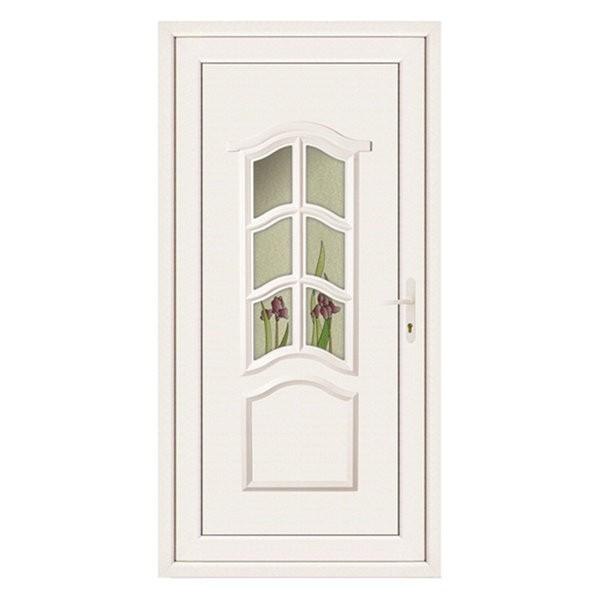 Porte d'entrée pvc JADE blanche 1 carreau poussant gauche, 215 x 90 cm