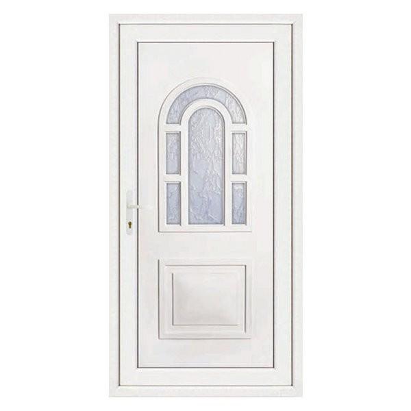 Porte d'entrée pvc LILOU blanche, poussant droit, 215 x 90 cm