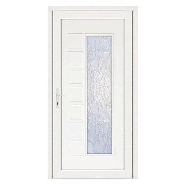 Porte d'entrée pvc JULIE blanche, poussant droit, 215 x 90 cm
