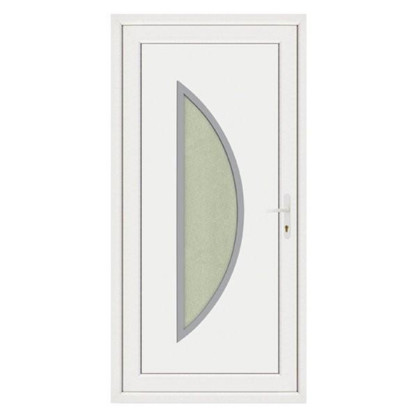 Porte d'entrée pvc LOUNA contour inox poussant gauche, 215 x 90 cm