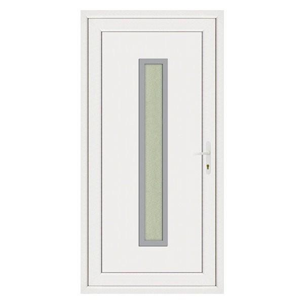 Porte d'entrée pvc JULES contour inox poussant gauche, 215 x 90 cm