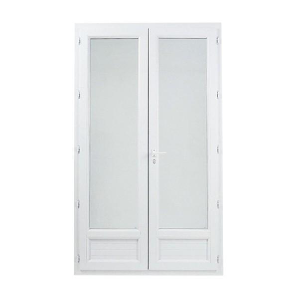 Porte fenêtre 2 vantaux en PVC, 215 x 150
