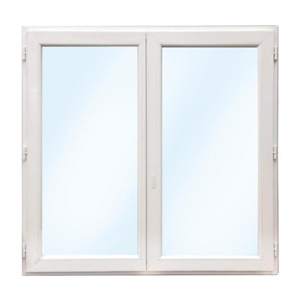 Fenêtre 2 vantaux en PVC, verre granité, 1 oscillo-battant, 75 x 100