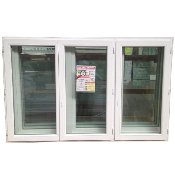 Fenêtre 3 vantaux en PVC, 125 x 210
