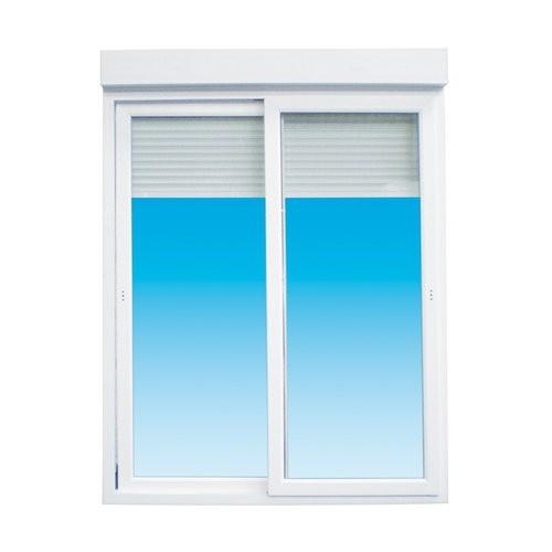 Baie vitrée coulissante PVC avec volet électrique, 215 x 300 cm