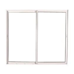 Baie vitrée coulissante en PVC blanc, double vitrage, 215 x 180 cm
