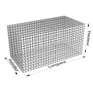 Gabion rectangle 200x50x100 - fil 4,5 mm - maille 5x10 et 10x10 cm