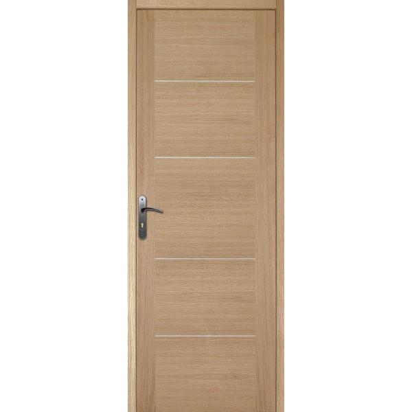 Bloc porte plaqu ch ne 204x73 cm droit for Porte 5 panneaux