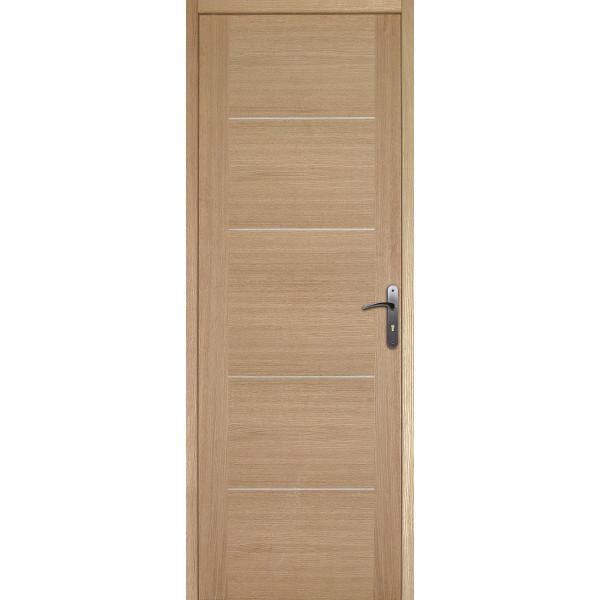 Bloc porte plaqué chêne 5 panneaux, 204x73 cm, poussant gauche