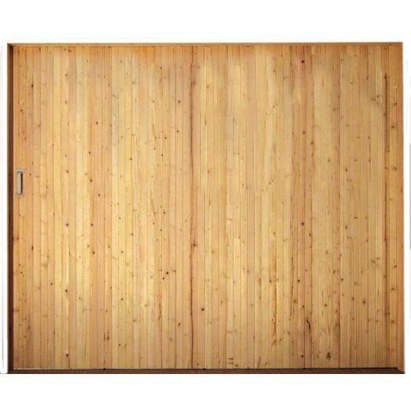 Porte de garage coulissante en bois sans hublots 200x300cm